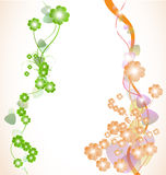 Abstract decorative line with flowers Royalty Free Stock Images