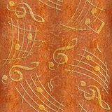 Abstract decorative music notes - Carpathian Elm wood texture Stock Photography