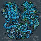 Abstract decorative neon floral elements. Abstract decorative hand drawn neon floral elements set Royalty Free Stock Image