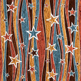 Abstract decorative paneling - Stars seamless pattern - wooden t Stock Images