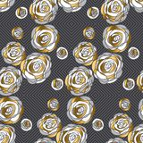 Abstract decorative rose flowers seamless pattern. Stock Images
