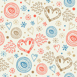 Abstract decorative seamless background with fly hearts  Endless doodle pattern Royalty Free Stock Photography