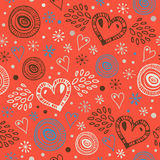 Abstract decorative seamless background with hearts. Endless doodle pattern. Ornamental cute texture. Modern wallpapers in stylish Royalty Free Stock Image