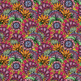 Abstract decorative seamless pattern with hand drawn floral elem Stock Images