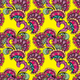 Abstract decorative seamless pattern with hand drawn floral elem Royalty Free Stock Photo