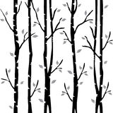 Abstract decorative trees. Autumn trees. Decorative alley. Trees on background. Black vector illustration