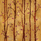 Abstract decorative trees - seamless background - wooden surface Stock Photography