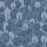 Abstract decorative trees - seamless pattern, blue jeans textile Stock Photography