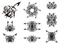 Abstract decorative tribal bird symbols Stock Photo