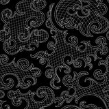 Abstract decorative vector seamless pattern with curling ornamental shapes, lines, grid Stock Photo