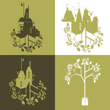 Abstract and decorative vector set of eco industry and nature. Set of vector illustration. Ecology concept, decorative image Royalty Free Stock Photography