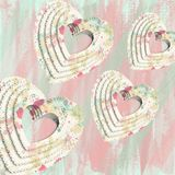 Abstract Decoupage Hearts. Abstract grunge decoupage hearts Stock Image