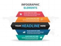 Abstract deel van hexagon elementen bedrijfs van Infographics, vlakke het ontwerp vectorillustratie van het presentatiemalplaatje Royalty-vrije Stock Fotografie