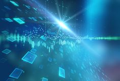 Abstract defocus digital technology background. Represent big data and digital communication technology concept royalty free illustration