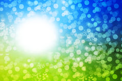 Abstract defocused background. Green and blue abstract defocused background with sunshine Stock Photo