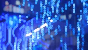 Abstract defocused blue lighting bokeh. At futuristic modern technology exhibition stock video footage
