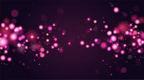 Abstract defocused circular bokeh sparkle glitter lights background. Magic christmas background. Elegant, shiny, pink. Metallic gold background. EPS 10 Stock Illustration
