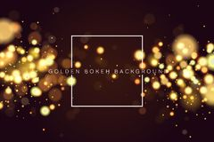Abstract defocused circular golden bokeh sparkle glitter lights background. Magic christmas background. Elegant, shiny stock illustration