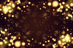 Abstract defocused circular golden luxury gold glitter bokeh lights background. Magic background. EPS 10. Holiday. Background. Golden explosion of confetti Stock Photography