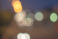Abstract defocused lights bokeh as light car on road background Royalty Free Stock Photo