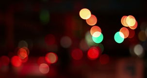 Abstract defocused night traffic city lights bokeh background, car lights city nightlife concept stock video