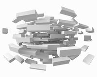 Abstract with deformed cubes on white. 3d style vector illustration. Abstract with deformed cubes on white backgorund. 3d style vector illustration. suitable for Stock Image