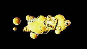 Abstract deformed figure on a black background. Metaball gold color drop Royalty Free Stock Photos