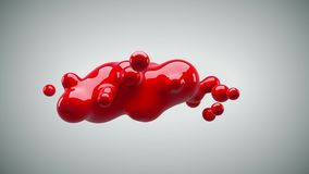 Abstract deformed figure on a white background. Metaball red color drop. 3d rendering Royalty Free Stock Photo