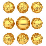 Abstract deformed golden balls Stock Photo