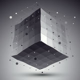 Abstract deformed vector monochrome cube with lines mesh placed Royalty Free Stock Image