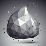 Abstract deformed vector monochrome object with lines mesh over Royalty Free Stock Photography