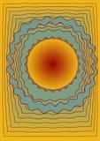 Abstract dekkingsmalplaatje met de ruimte, gele, groene en rode kleur van de gradiëntcirkel, met rode contourvormen Royalty-vrije Stock Foto