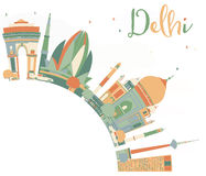 Abstract Delhi Skyline with Color Landmarks and Copy Space. Stock Photo