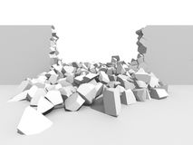 Abstract demolition. Cracked destructed hole wall. 3d render illustration Stock Photo
