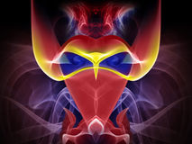 Abstract Demon. Abstract colorful smoke shape in form of horned helmet Stock Image
