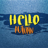 Abstract denim jeans texture background. Hello Autumn vector poster, banner, card. Calligraphic lettering. Abstract denim jeans texture background. Hello Autumn vector illustration