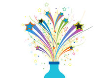 Stars out of bottle. An illustration of shooting stars flying out of a bottle Royalty Free Stock Photo
