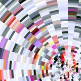 Abstract design, abstract background. Radiant and gradual circles, diamond like shapes in white, violet, red, pink and gray hues and colors. Abstract design stock illustration
