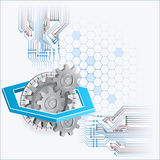 Abstract design background with gears and graded circular plate Stock Image