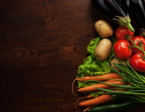Abstract design background vegetables on wooden Royalty Free Stock Photography