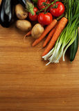 Abstract design background vegetables on wooden Royalty Free Stock Image