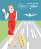 Abstract design banners with flight attendants. Stewardess holding ticket and travel case in her hand. Woman in formal clothes. The runway and the airport Stock Image