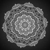 Abstract design black white element. Round mandala in vector.  Royalty Free Stock Photo