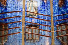 Abstract design blue glass and railing shimmering Royalty Free Stock Photos