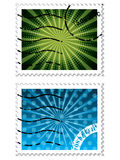 Abstract design on blue and green stamps Royalty Free Stock Photos