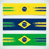Abstract design Brazilian flag. Design banners with two grunge stripes and Brazil flag in center. 3D vector eps 10 Stock Images