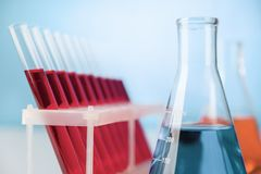 Chemistry glassware on lab table Stock Photography