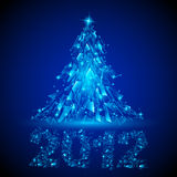 Abstract design. Christmas tree. Abstract glowing background. Blue Christmas tree for design Stock Photography