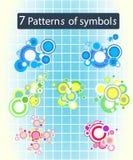 Abstract design circle symbols. Abstract design 7 circle patterns of symbols Royalty Free Stock Image