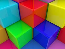 Abstract design from color cubes. In background stock illustration